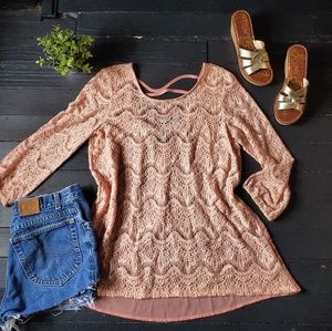 Anthropologie See Through Lace Blouse